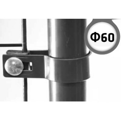 Antracit Metal príchytka bránky/brány s guľatým stĺpikom 60mm