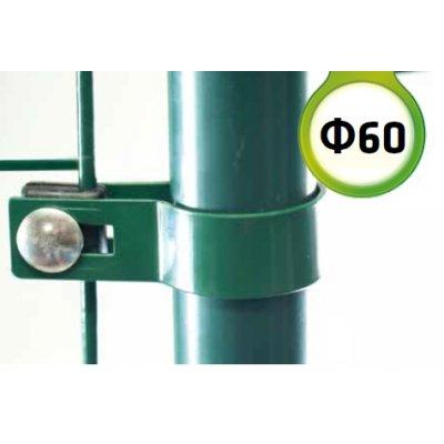 Zelená Metal príchytka bránky/brány s guľatým stĺpikom 60mm