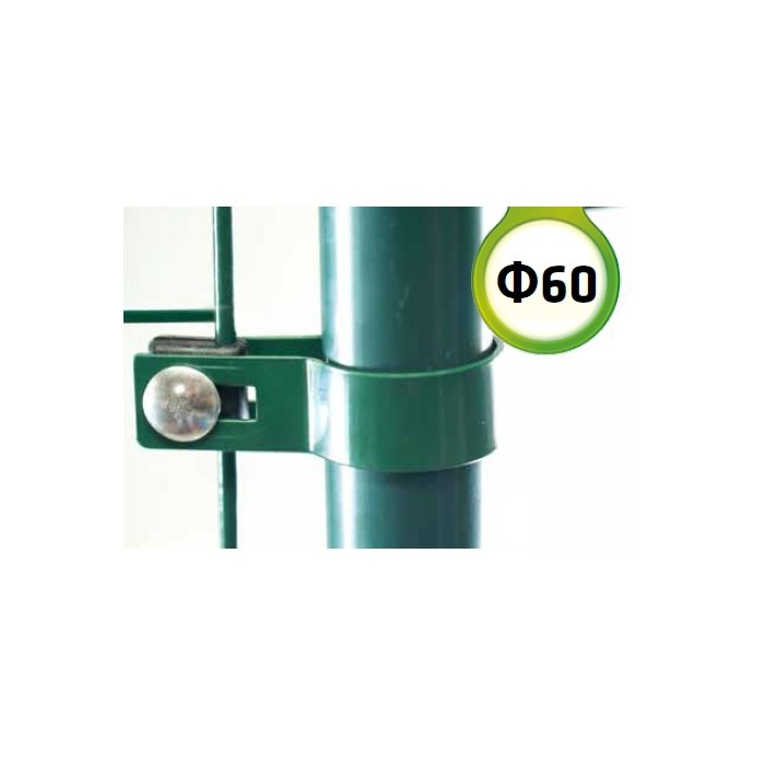 Zelená Metal príchytka brány, bránky s guľatým stĺpikom 60mm