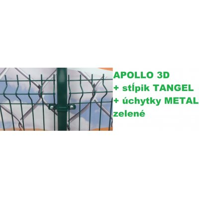 Set 123cm Zelený APOLLO so stĺpikmi Tangel 60x40mm a úchytkami METAL