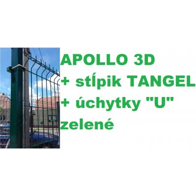 "Set 123cm Zelený APOLLO so stĺpikmi Tangel 60x40mm a úchytkami ""U"""