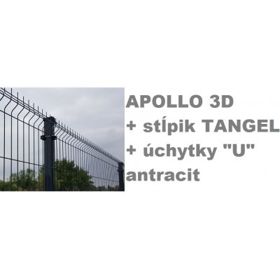 "Set 123cm Antracit APOLLO so stĺpikmi Tangel 60x40mm a úchytkami ""U"""