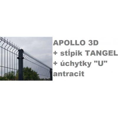 "Set 123cm Antracit APOLLO so stĺpikmi Tangel 60x40mm a úchytkami ""U"""