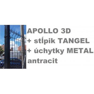 Set 123cm Antracit APOLLO so stĺpikmi Tangel 60x40mm a úchytkami METAL
