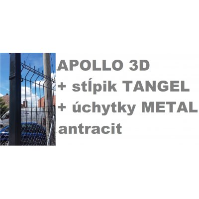 Set 153cm Antracit APOLLO so stĺpikmi Tangel 60x40mm a úchytkami METAL