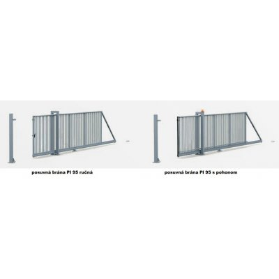 140-150cm Posuvná brána PI 95 350-650cm