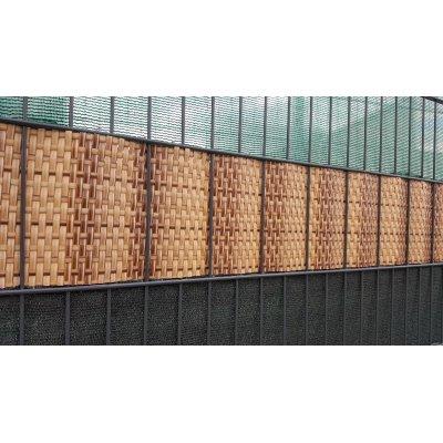 Béžová žíhaná ratan krycia páska k plotovým panelom
