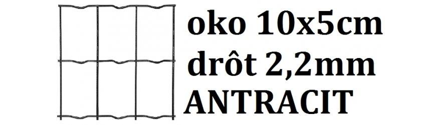 Pletivo obdĺžnikové oko10x5 cm drôt 2,2mm Antracit