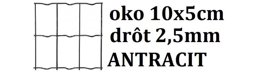 Antracit Poplastované pletivo obdĺžnikové oko10x5cm drôt 2,5mm